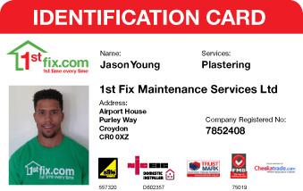 A 1stfix plasterer's ID card